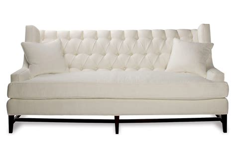 tufted white couch eaton 86 quot tufted linen sofa white sofas from one kings lane