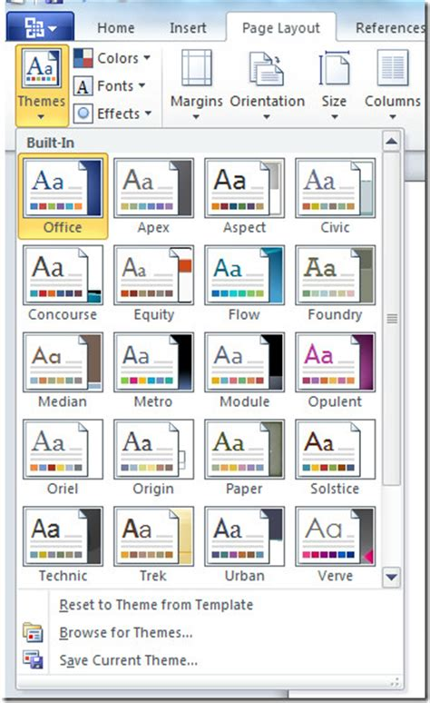 apply themes excel 2010 microsoft office word 2010 what s new