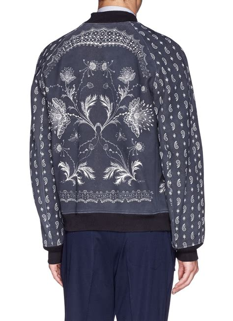 Blue Floral Boomber Printing mcqueen floral and paisley print suede bomber