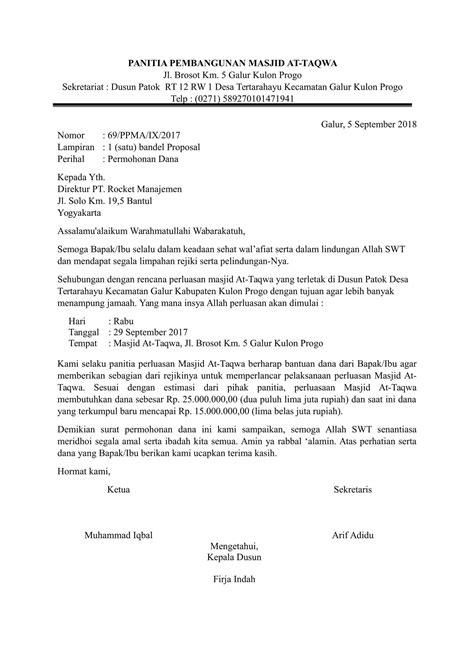 contoh surat permohonan bantuan kegiatan lomba olah