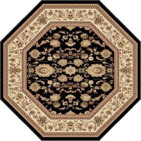 6 octagon rug tayse rugs sensation black 5 ft 3 in octagon traditional