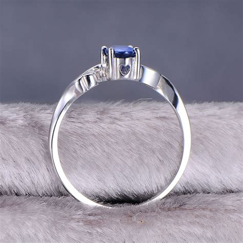 inexpensive sapphire engagement ring with diamonds on 10k