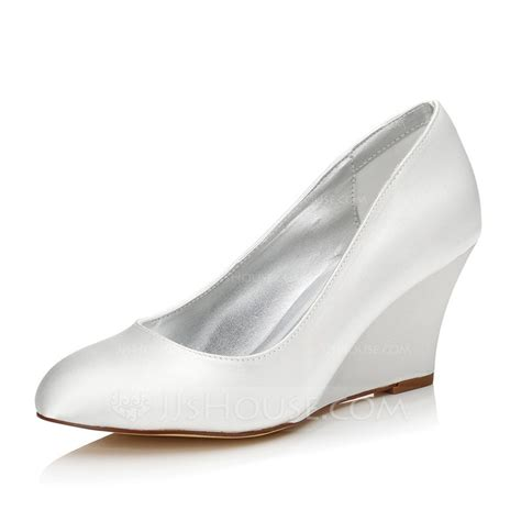 s satin wedge heel closed toe dyeable shoes