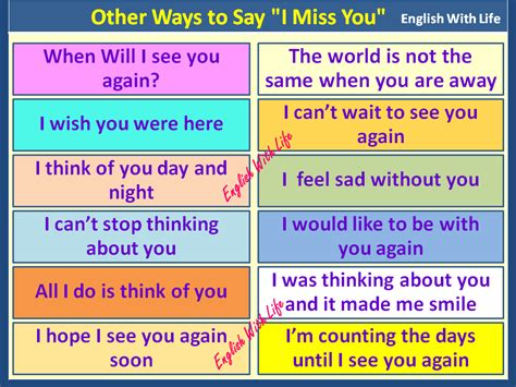 say i you other ways to say i miss you vocabulary home