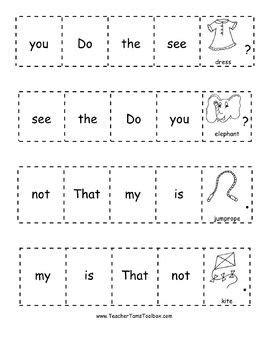 Kindergarten Sentence Building Worksheets by Sight Word Sentences For Kindergarten And Grade