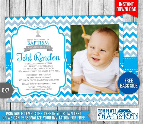 Boy Christening Invitation 2 By Templatemansion On Deviantart Christening Invite Template
