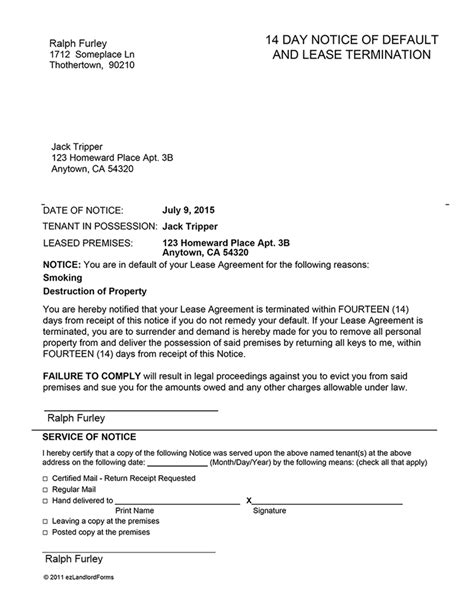 Agreement Default Letter Arkansas 14 Day Notice Of Default Ez Landlord Forms