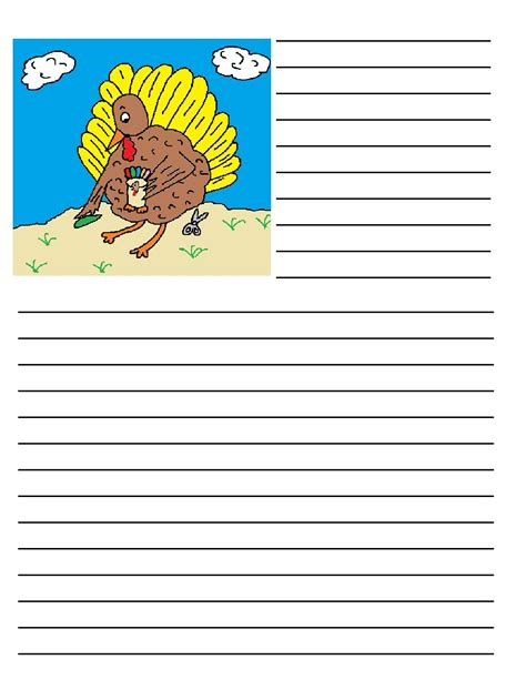turkey writing paper thanksgiving printable writing paper