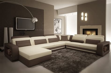 canape chocolat et meuble blanc laque