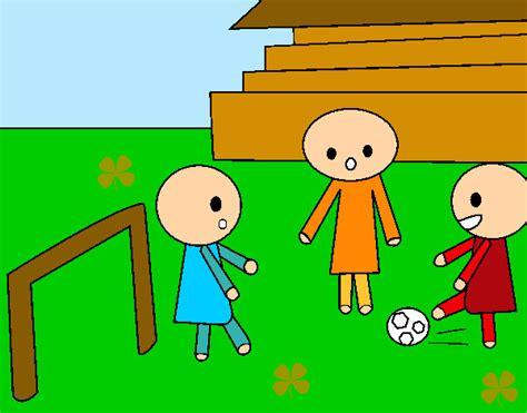 imagenes infantiles de niños jugando a color dibujo de ni 241 os jugando al f 250 tbol pintado por silvitica en