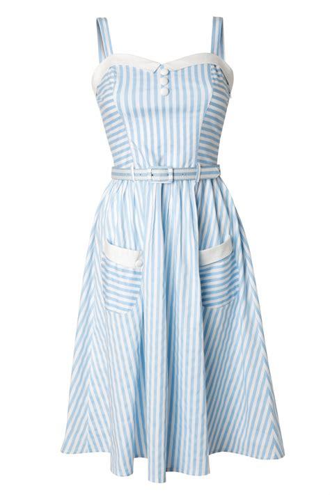 50 s swing 50s gabriel swing dress blue and white stripes