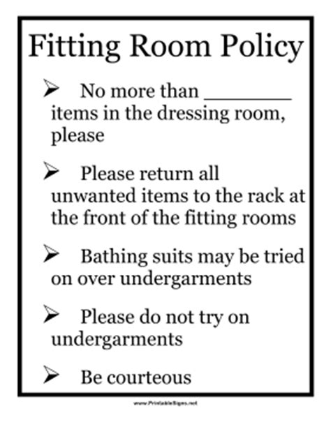 rooms to go cancellation policy printable fitting room policy sign