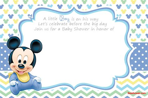 Baby Mickey Mouse Baby Shower Invitations Printable by New Free Printable Mickey Mouse Baby Shower Invitation