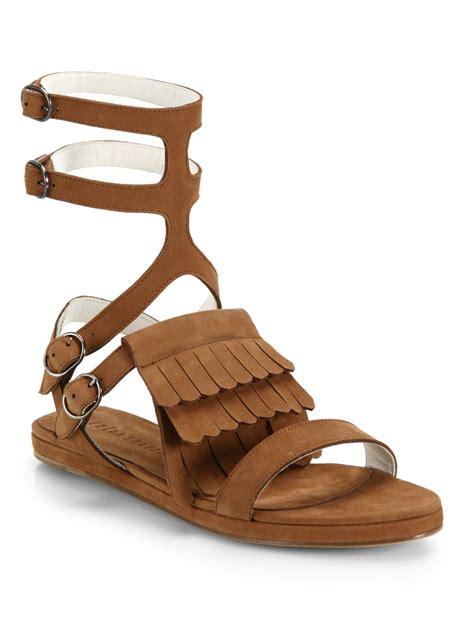 fringe suede sandals fr苴da salvador fringed suede gladiator sandals in brown lyst