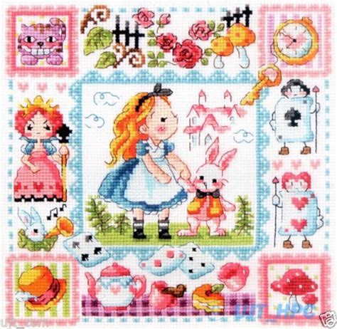 pattern leaflet details about quot alice in wonderland quot counted cross stitch