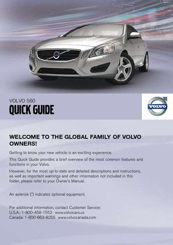 free car manuals to download 2011 volvo s60 regenerative braking 2011 volvo s60 quick guide pdf manual 8 pages