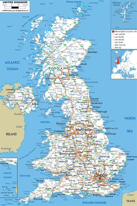 Printable Road Map Of United Kingdom | road map of united kingdom ezilon maps
