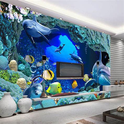 Animal Wall Mural aliexpress com buy 3d wall murals wallpaper aquarium