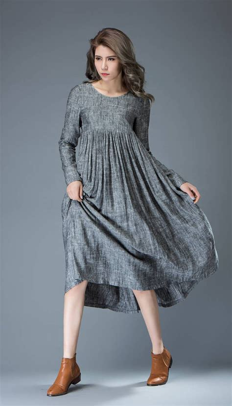 long comfortable dresses casual gray dress comfortable linen loose fitting long