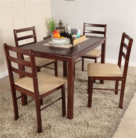 Woodness Solid Wood 4 Seater Dining Set Price In India 4 Chair Dining Table Designs