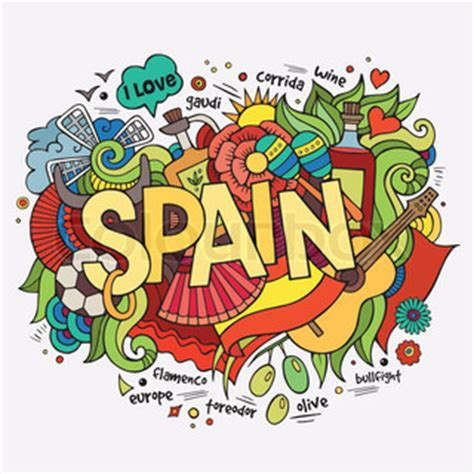 doodle espaã ol decorative spain cultural traditions flamenco food