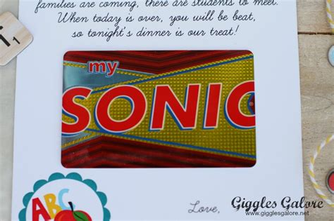 Sonic Gift Cards - meet the teacher gift idea