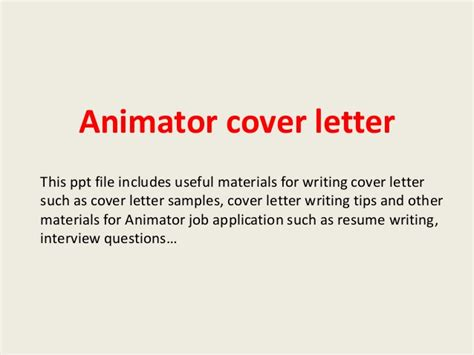 animation cover letter animator cover letter