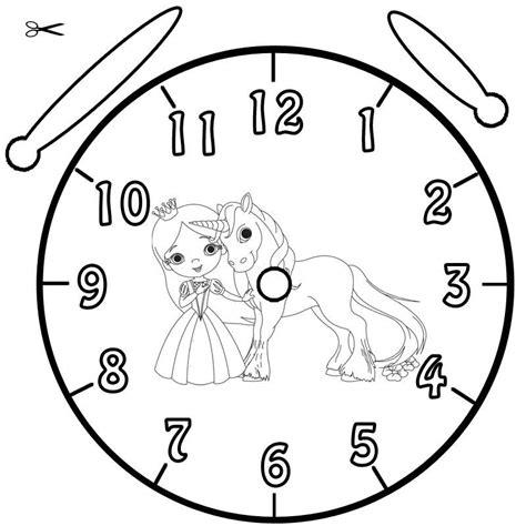 Kostenlose Vorlage Uhr Kostenlose Malvorlage Uhrzeit Lernen Ausmalbild Prinzessin Und Einhorn Zum Ausmalen