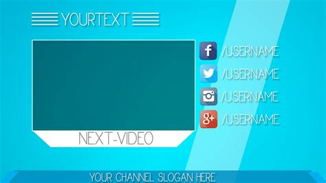 Simple Blue Youtube Outro Template Free Download Outro Template 6 Youtube Outros Templates