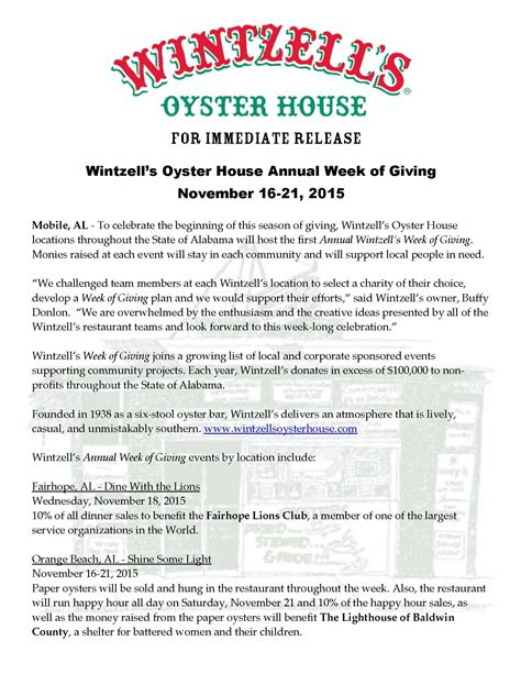 new year restaurant press release wintzell s oyster house annual week of giving