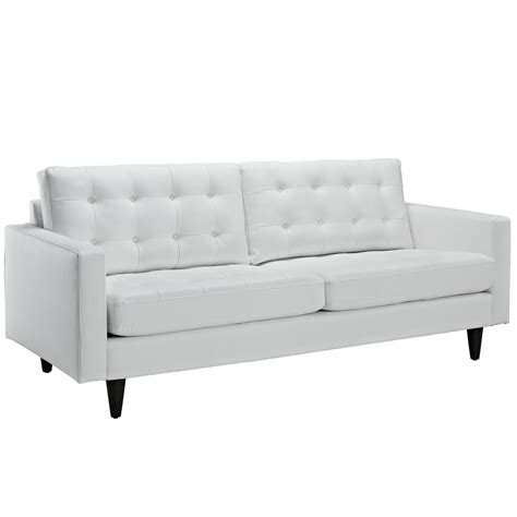 modway empress leather sofa in white beyond stores
