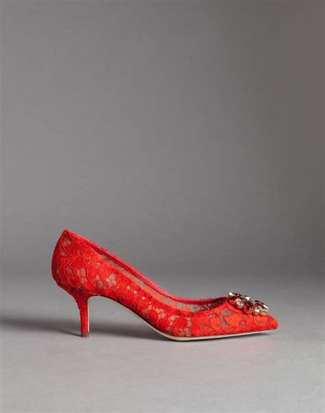 lyst dolce gabbana embellished lace pumps in