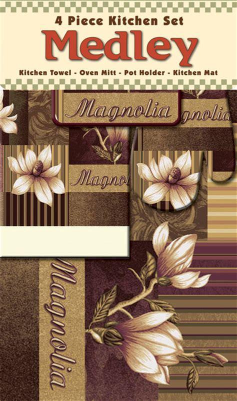 kitchen rug and towel sets green floral magnolia mat towel oven mitt pot holder 4 kitchen rug set ebay