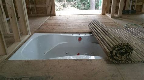 bathtub jacuzzi mat trap door recessed jacuzzi tub with bamboo roll away mat
