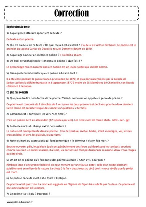 Dormeur Du Val Analyse by Le Dormeur Du Val Arthur Rimbaud Arts Du Langage