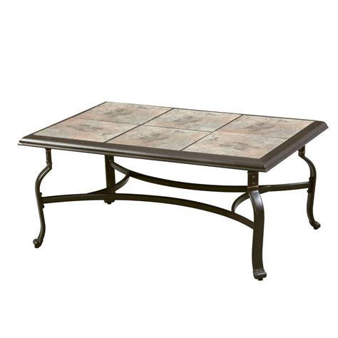 Ceramic Patio Table Hton Bay Belleville Tile Top Patio Coffee Table Fts80721 The Home Depot