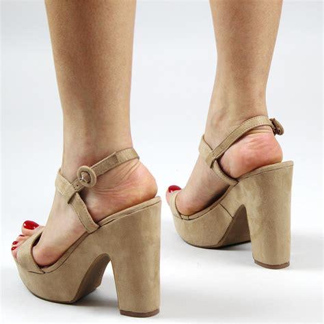 High Heel Platform Sandals chunky strappy heels block heel and platform design