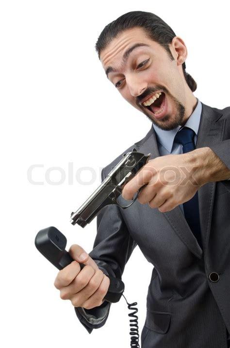 angry businessman killing the phone stock photo colourbox