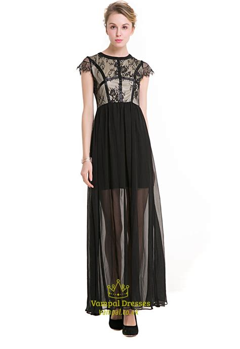 Chiffon Lace Dress black cap sleeve a line chiffon maxi dress with lace