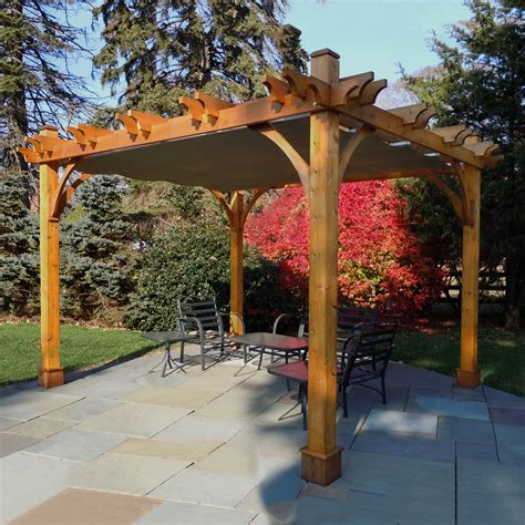pergola with shade outdoor living today bz1012wrc 10 ft x 12 ft breeze