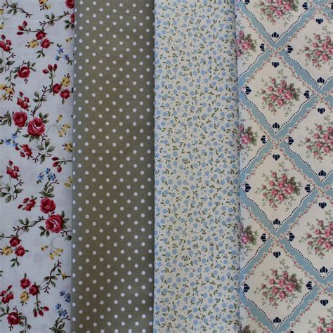 country fabric 4 quarters country garden blue green