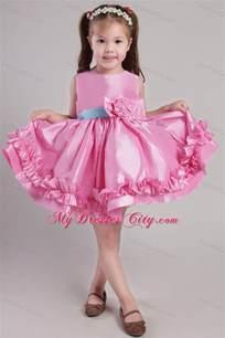 knee length rose pink scoop taffeta belt little dress mydresscity com