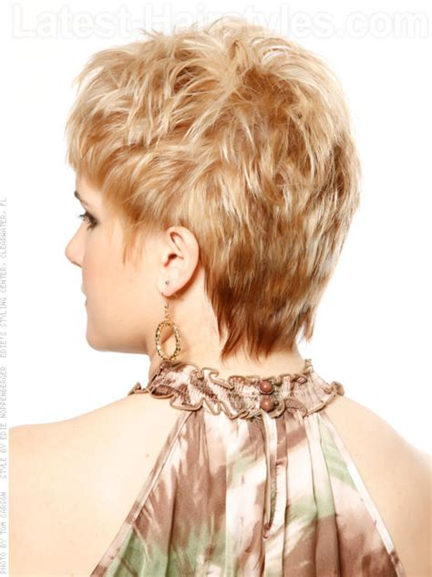 back view of short layered bump hair styles black women short haircut with layers and texture back view