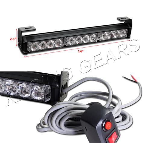 Led Light Bar Strobe Universal White Led 14 034 Traffic Advisor 7 Modes Warning Strobe Light Bar Ebay