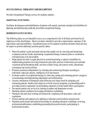 occupational therapist description 9 occupational therapy description sles sle