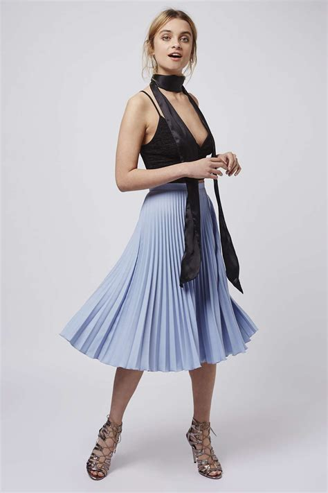 topshop pleated midi skirt in blue lyst