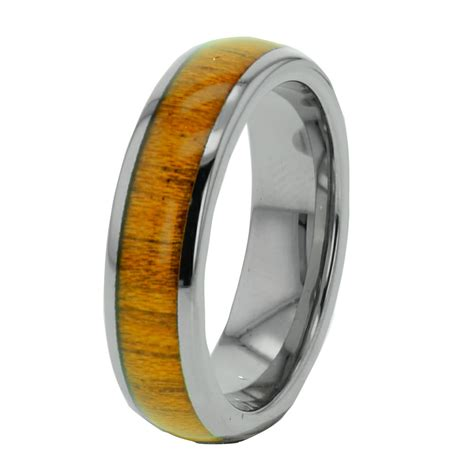 mens wedding rings with wood inlay wood inlay tungsten band duo step edge s s