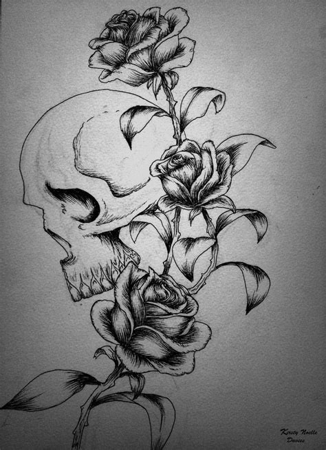 tattoo design rose and skull skull and roses tattoo design by kirstynoelledavies on