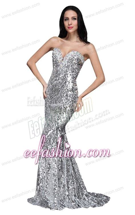Mermaid Silver Sequins Sweetheart Beading Brush Train Prom