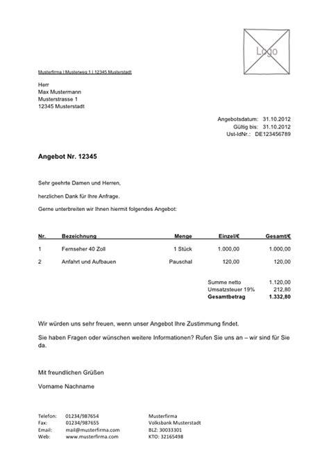 Kommerzielles Angebot Muster angebotvorlage kostenlos zum lexoffice